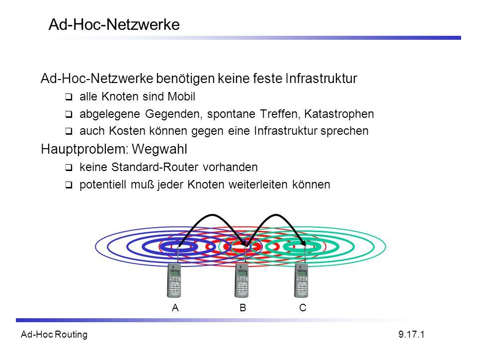 Ad-Hoc Routing Ad-Hoc-Netzwerke Ad-Hoc-Netzwerke benötigen keine feste Infrastruktur alle Knoten sind Mobil abgelegene Gegenden, spontane Treffen, Kat