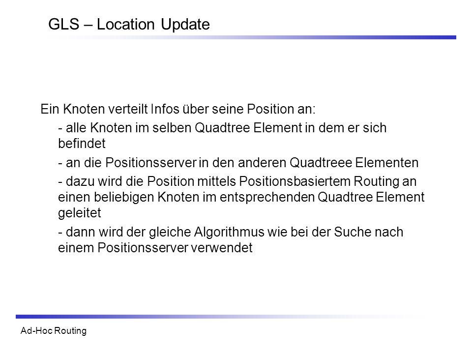 Ad-Hoc Routing GLS – Location Update Ein Knoten verteilt Infos über seine Position an: - alle Knoten im selben Quadtree Element in dem er sich befinde