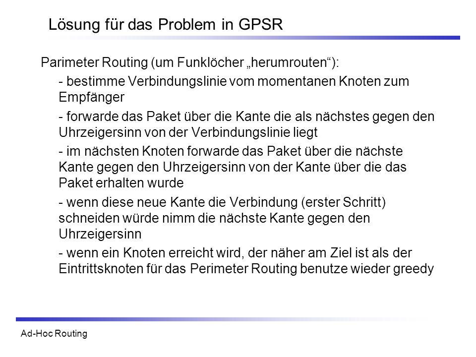 Ad-Hoc Routing Lösung für das Problem in GPSR Parimeter Routing (um Funklöcher herumrouten): - bestimme Verbindungslinie vom momentanen Knoten zum Emp
