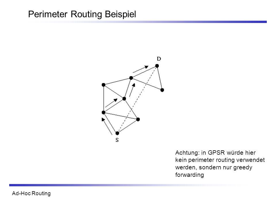 Ad-Hoc Routing Perimeter Routing Beispiel Achtung: in GPSR würde hier kein perimeter routing verwendet werden, sondern nur greedy forwarding