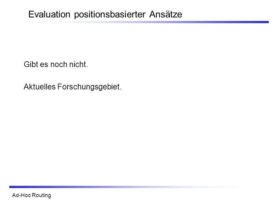 Ad-Hoc Routing Evaluation positionsbasierter Ansätze Gibt es noch nicht. Aktuelles Forschungsgebiet.
