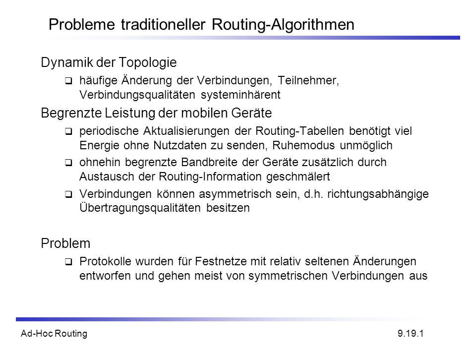 Ad-Hoc Routing Probleme traditioneller Routing-Algorithmen Dynamik der Topologie häufige Änderung der Verbindungen, Teilnehmer, Verbindungsqualitäten