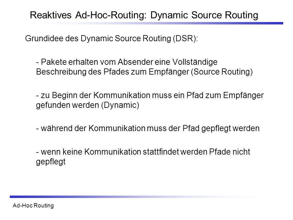 Ad-Hoc Routing Reaktives Ad-Hoc-Routing: Dynamic Source Routing Grundidee des Dynamic Source Routing (DSR): - Pakete erhalten vom Absender eine Vollst