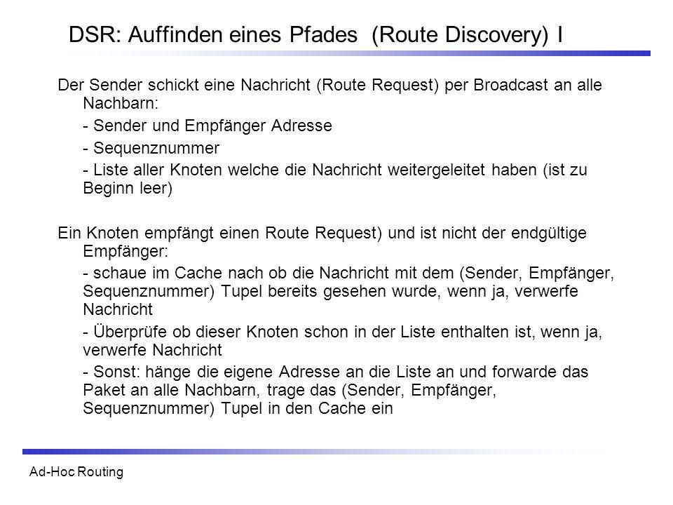 Ad-Hoc Routing DSR: Auffinden eines Pfades (Route Discovery) I Der Sender schickt eine Nachricht (Route Request) per Broadcast an alle Nachbarn: - Sen