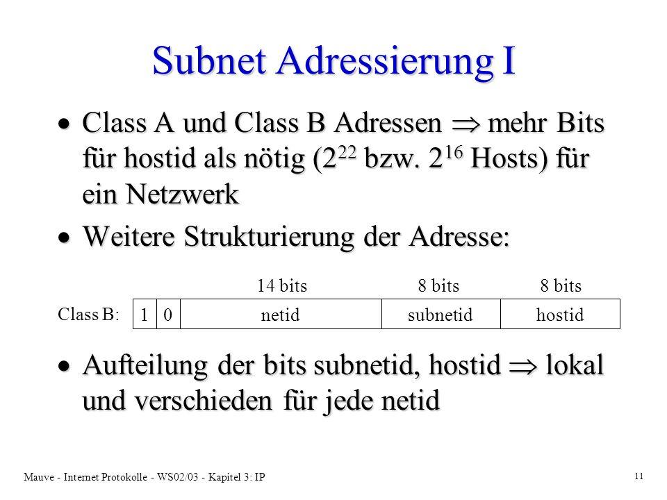 Mauve - Internet Protokolle - WS02/03 - Kapitel 3: IP 11 Subnet Adressierung I Class A und Class B Adressen mehr Bits für hostid als nötig (2 22 bzw.