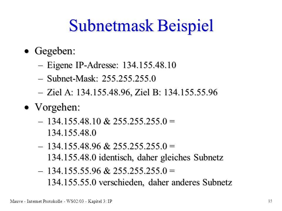 Mauve - Internet Protokolle - WS02/03 - Kapitel 3: IP 15 Subnetmask Beispiel Gegeben: Gegeben: –Eigene IP-Adresse: 134.155.48.10 –Subnet-Mask: 255.255.255.0 –Ziel A: 134.155.48.96, Ziel B: 134.155.55.96 Vorgehen: Vorgehen: –134.155.48.10 & 255.255.255.0 = 134.155.48.0 –134.155.48.96 & 255.255.255.0 = 134.155.48.0 identisch, daher gleiches Subnetz –134.155.55.96 & 255.255.255.0 = 134.155.55.0 verschieden, daher anderes Subnetz