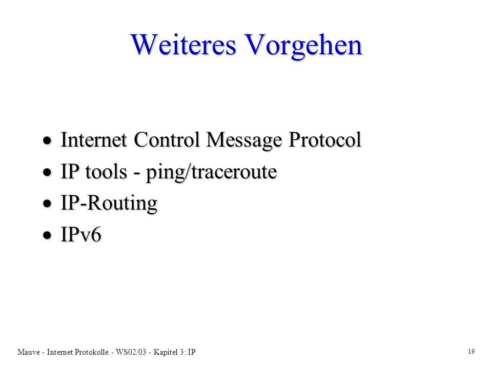 Mauve - Internet Protokolle - WS02/03 - Kapitel 3: IP 19 Weiteres Vorgehen Internet Control Message Protocol Internet Control Message Protocol IP tools - ping/traceroute IP tools - ping/traceroute IP-Routing IP-Routing IPv6 IPv6