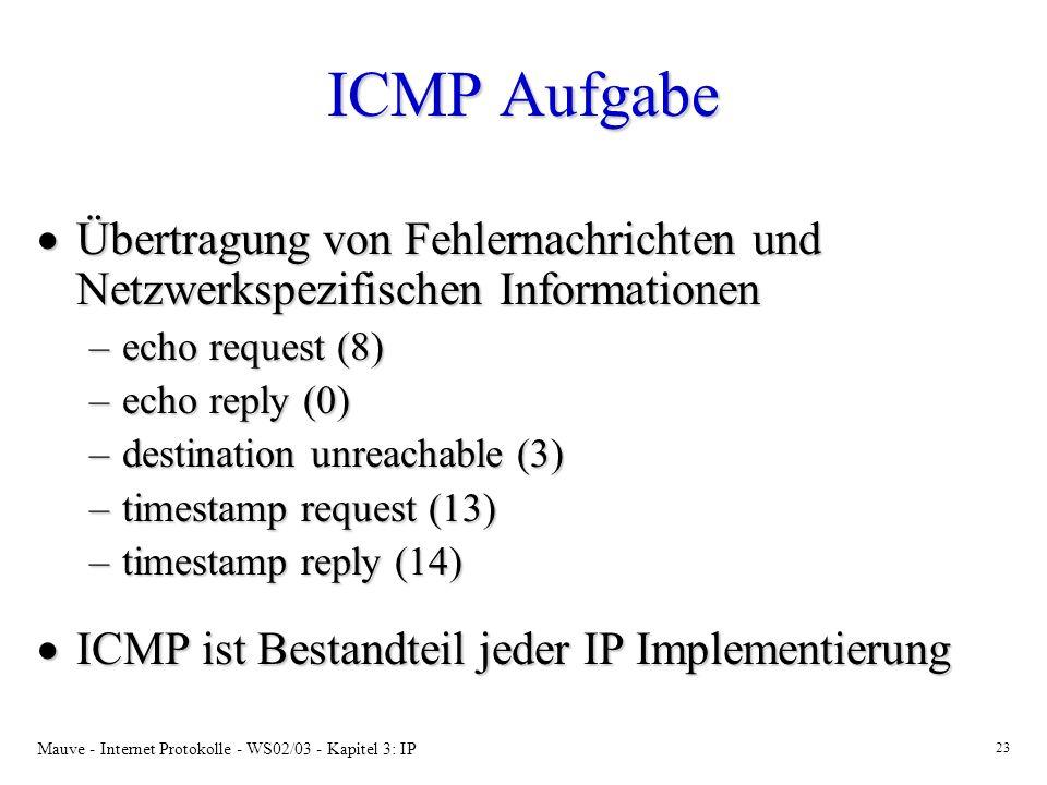 Mauve - Internet Protokolle - WS02/03 - Kapitel 3: IP 23 ICMP Aufgabe Übertragung von Fehlernachrichten und Netzwerkspezifischen Informationen Übertragung von Fehlernachrichten und Netzwerkspezifischen Informationen –echo request (8) –echo reply (0) –destination unreachable (3) –timestamp request (13) –timestamp reply (14) ICMP ist Bestandteil jeder IP Implementierung ICMP ist Bestandteil jeder IP Implementierung