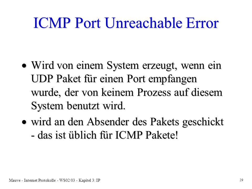 Mauve - Internet Protokolle - WS02/03 - Kapitel 3: IP 29 ICMP Port Unreachable Error Wird von einem System erzeugt, wenn ein UDP Paket für einen Port empfangen wurde, der von keinem Prozess auf diesem System benutzt wird.