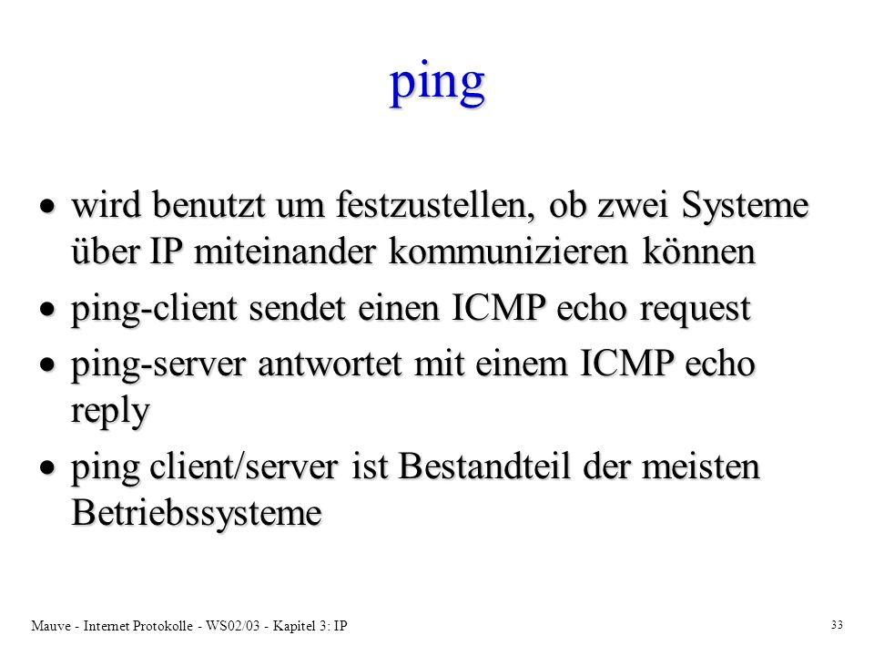 Mauve - Internet Protokolle - WS02/03 - Kapitel 3: IP 33 ping wird benutzt um festzustellen, ob zwei Systeme über IP miteinander kommunizieren können wird benutzt um festzustellen, ob zwei Systeme über IP miteinander kommunizieren können ping-client sendet einen ICMP echo request ping-client sendet einen ICMP echo request ping-server antwortet mit einem ICMP echo reply ping-server antwortet mit einem ICMP echo reply ping client/server ist Bestandteil der meisten Betriebssysteme ping client/server ist Bestandteil der meisten Betriebssysteme