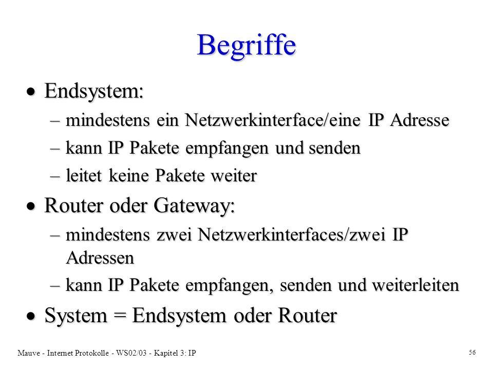 Mauve - Internet Protokolle - WS02/03 - Kapitel 3: IP 56 Begriffe Endsystem: Endsystem: –mindestens ein Netzwerkinterface/eine IP Adresse –kann IP Pakete empfangen und senden –leitet keine Pakete weiter Router oder Gateway: Router oder Gateway: –mindestens zwei Netzwerkinterfaces/zwei IP Adressen –kann IP Pakete empfangen, senden und weiterleiten System = Endsystem oder Router System = Endsystem oder Router