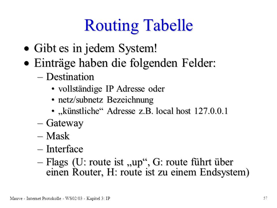 Mauve - Internet Protokolle - WS02/03 - Kapitel 3: IP 57 Routing Tabelle Gibt es in jedem System.