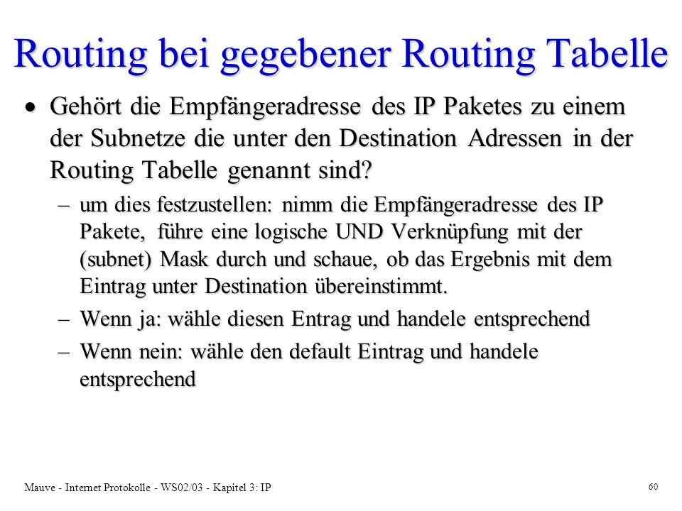 Mauve - Internet Protokolle - WS02/03 - Kapitel 3: IP 60 Routing bei gegebener Routing Tabelle Gehört die Empfängeradresse des IP Paketes zu einem der Subnetze die unter den Destination Adressen in der Routing Tabelle genannt sind.