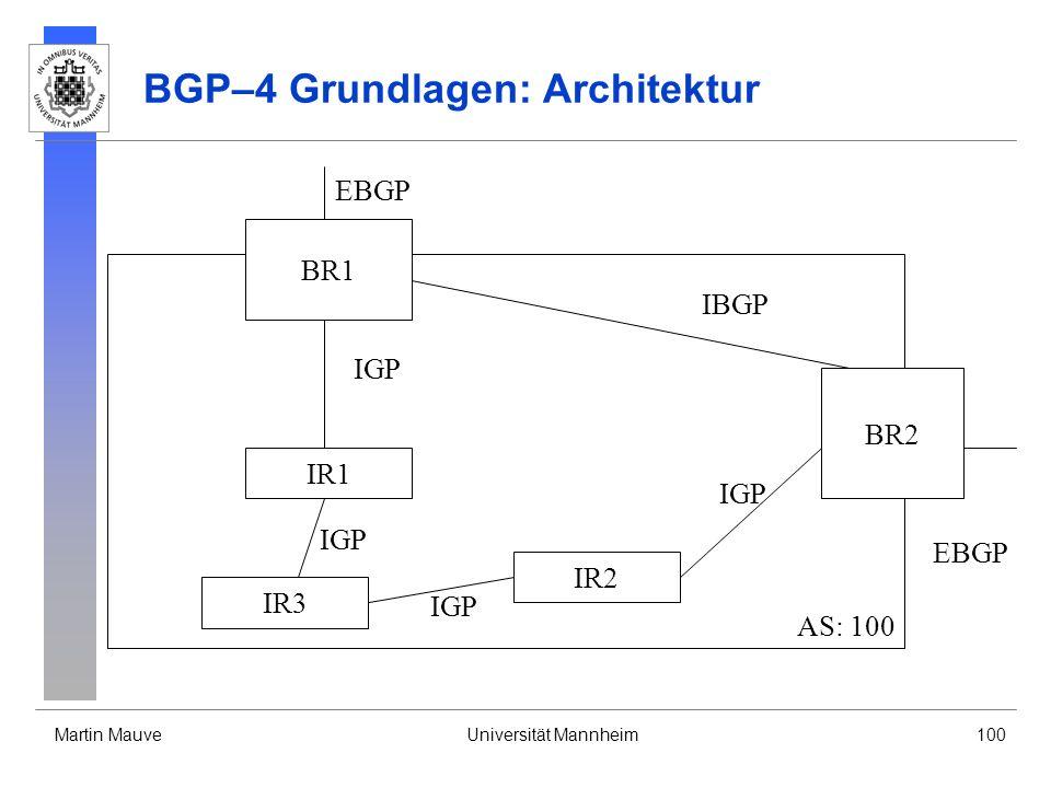 Martin MauveUniversität Mannheim100 BGP–4 Grundlagen: Architektur AS: 100 IR1 IR2 BR1 BR2 IR3 EBGP IBGP EBGP IGP