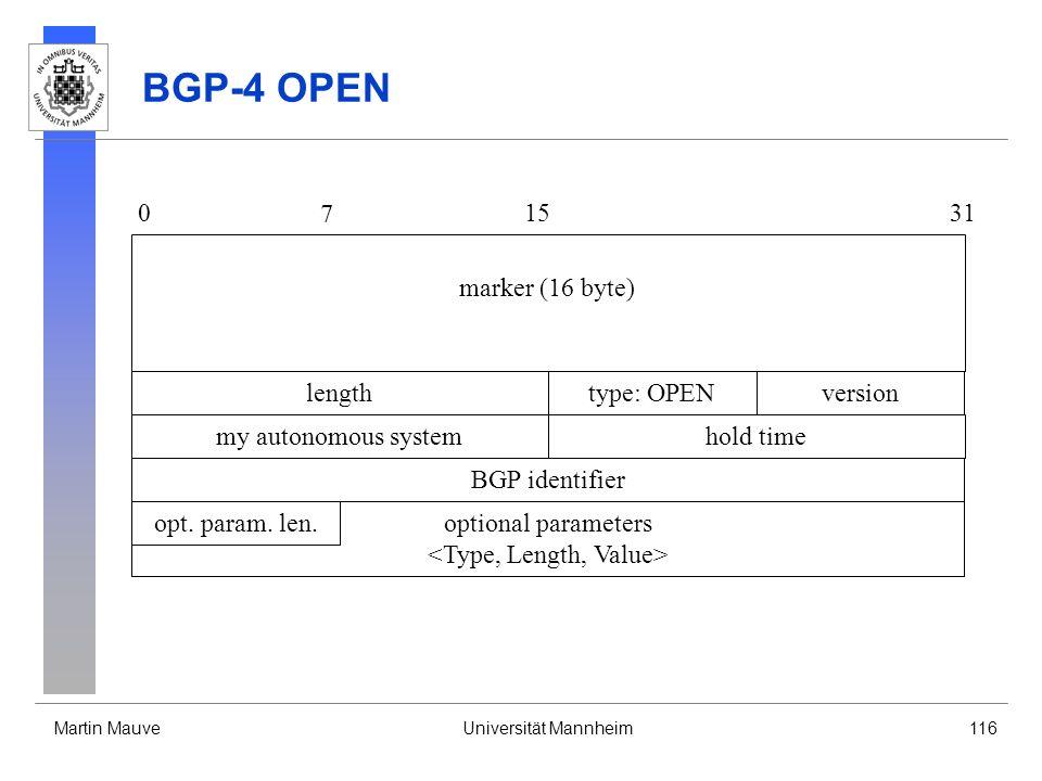 Martin MauveUniversität Mannheim116 optional parameters BGP-4 OPEN 0 7 1531 lengthtype: OPEN marker (16 byte) version my autonomous systemhold time BGP identifier opt.