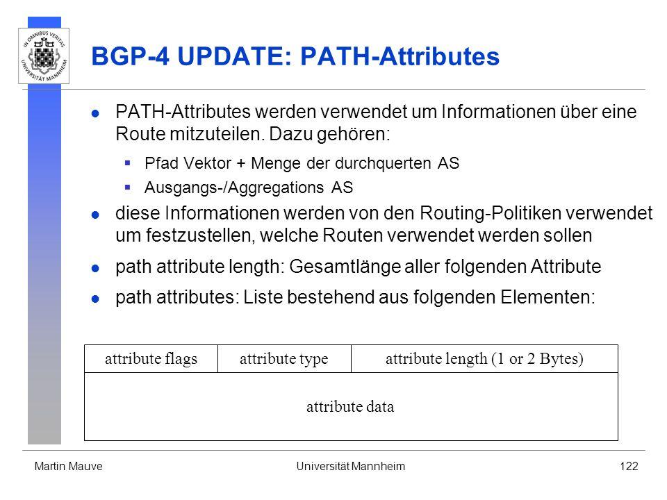 Martin MauveUniversität Mannheim122 BGP-4 UPDATE: PATH-Attributes PATH-Attributes werden verwendet um Informationen über eine Route mitzuteilen.