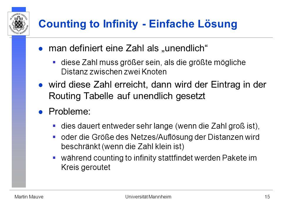 Martin MauveUniversität Mannheim15 Counting to Infinity - Einfache Lösung man definiert eine Zahl als unendlich diese Zahl muss größer sein, als die größte mögliche Distanz zwischen zwei Knoten wird diese Zahl erreicht, dann wird der Eintrag in der Routing Tabelle auf unendlich gesetzt Probleme: dies dauert entweder sehr lange (wenn die Zahl groß ist), oder die Größe des Netzes/Auflösung der Distanzen wird beschränkt (wenn die Zahl klein ist) während counting to infinity stattfindet werden Pakete im Kreis geroutet