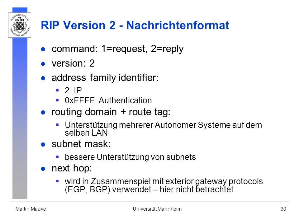 Martin MauveUniversität Mannheim30 RIP Version 2 - Nachrichtenformat command: 1=request, 2=reply version: 2 address family identifier: 2: IP 0xFFFF: Authentication routing domain + route tag: Unterstützung mehrerer Autonomer Systeme auf dem selben LAN subnet mask: bessere Unterstützung von subnets next hop: wird in Zusammenspiel mit exterior gateway protocols (EGP, BGP) verwendet – hier nicht betrachtet