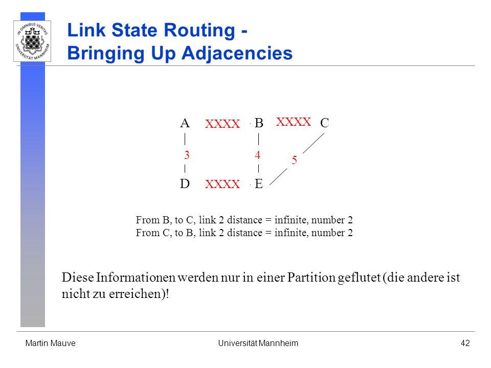 Martin MauveUniversität Mannheim42 Link State Routing - Bringing Up Adjacencies A DE CB 3 XXXX 4 5 From B, to C, link 2 distance = infinite, number 2 From C, to B, link 2 distance = infinite, number 2 XXXX Diese Informationen werden nur in einer Partition geflutet (die andere ist nicht zu erreichen).