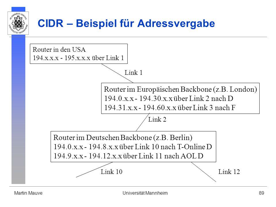 Martin MauveUniversität Mannheim89 CIDR – Beispiel für Adressvergabe Router in den USA 194.x.x.x - 195.x.x.x über Link 1 Link 1 Router im Europäischen Backbone (z.B.
