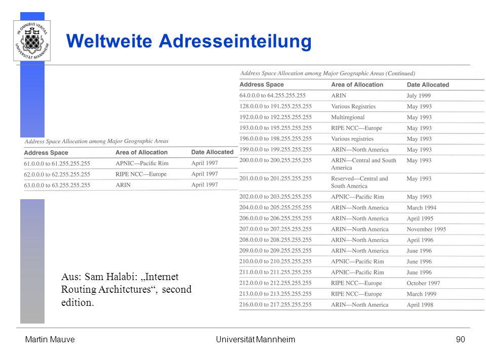 Martin MauveUniversität Mannheim90 Weltweite Adresseinteilung Aus: Sam Halabi: Internet Routing Architctures, second edition.