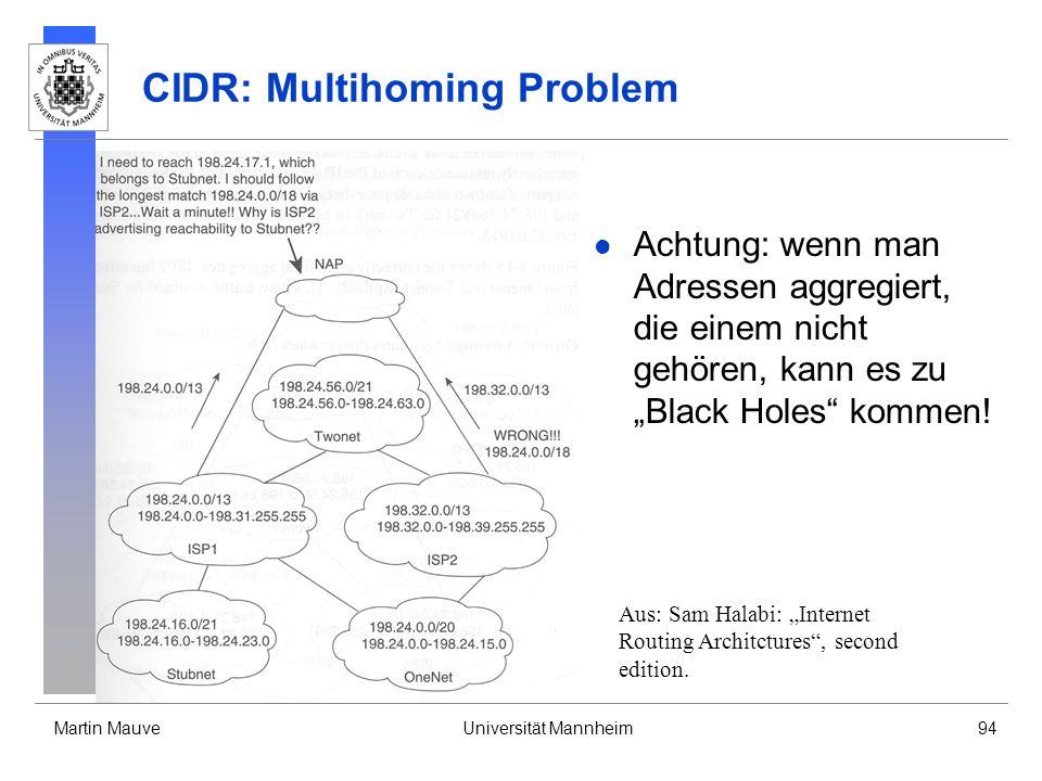 Martin MauveUniversität Mannheim94 CIDR: Multihoming Problem Achtung: wenn man Adressen aggregiert, die einem nicht gehören, kann es zu Black Holes kommen.