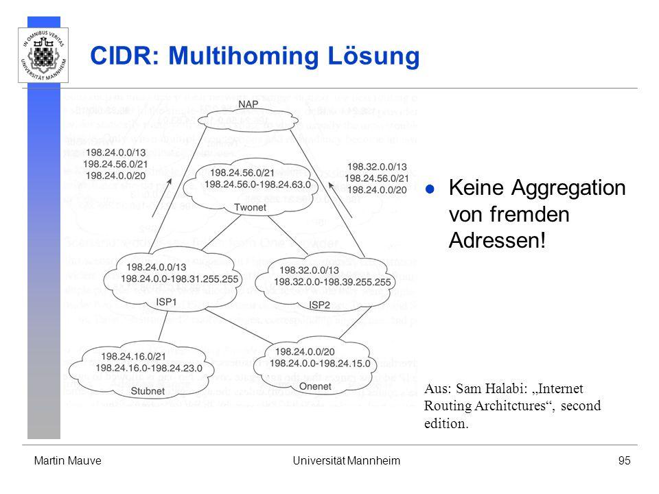 Martin MauveUniversität Mannheim95 CIDR: Multihoming Lösung Keine Aggregation von fremden Adressen.