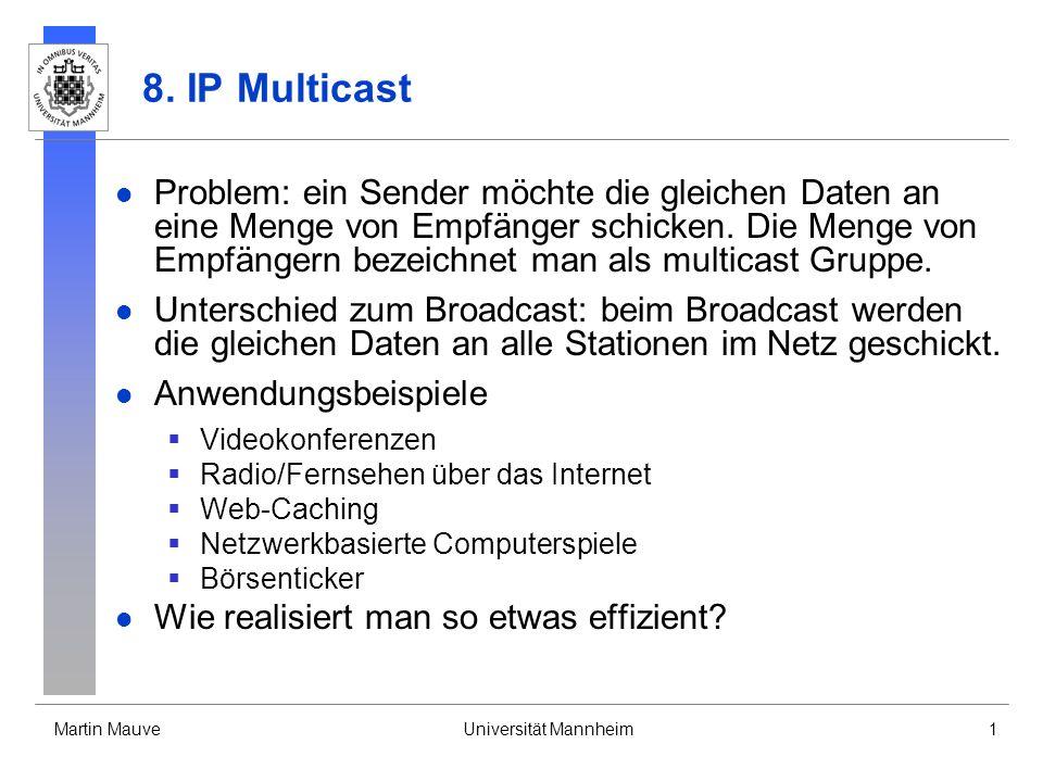Martin MauveUniversität Mannheim1 8. IP Multicast Problem: ein Sender möchte die gleichen Daten an eine Menge von Empfänger schicken. Die Menge von Em
