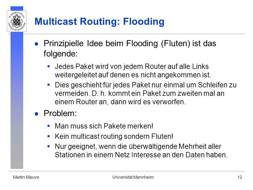 Martin MauveUniversität Mannheim12 Multicast Routing: Flooding Prinzipielle Idee beim Flooding (Fluten) ist das folgende: Jedes Paket wird von jedem R