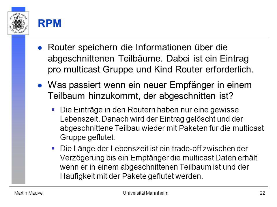 Martin MauveUniversität Mannheim22 RPM Router speichern die Informationen über die abgeschnittenen Teilbäume. Dabei ist ein Eintrag pro multicast Grup