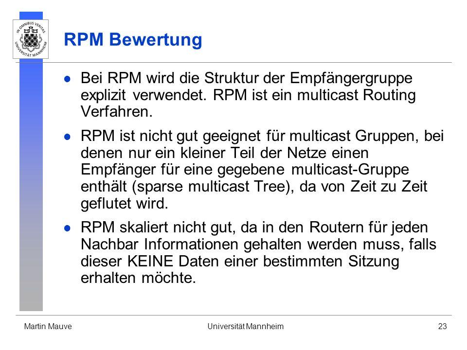 Martin MauveUniversität Mannheim23 RPM Bewertung Bei RPM wird die Struktur der Empfängergruppe explizit verwendet. RPM ist ein multicast Routing Verfa