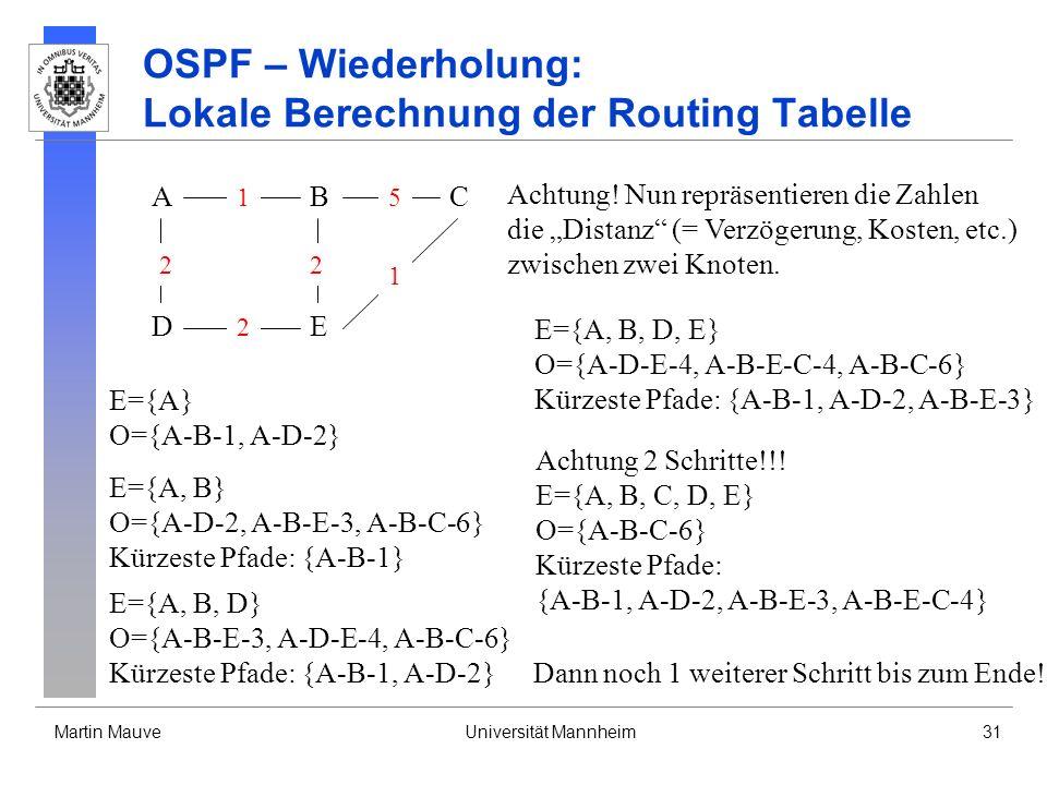 Martin MauveUniversität Mannheim31 OSPF – Wiederholung: Lokale Berechnung der Routing Tabelle A DE CB 2 2 1 2 5 1 Achtung! Nun repräsentieren die Zahl