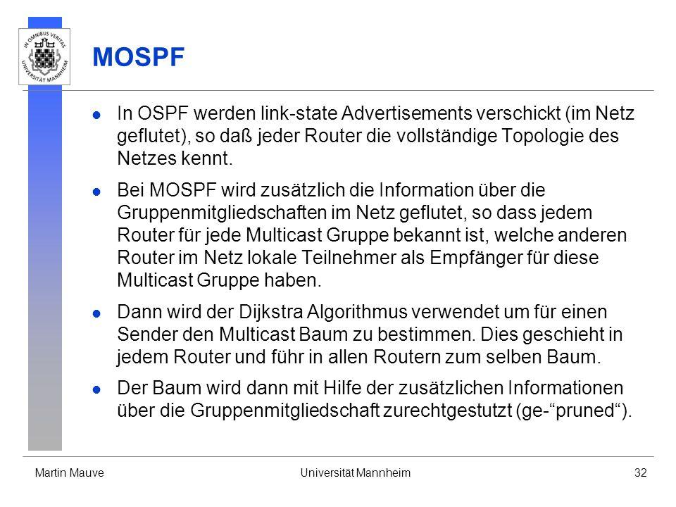Martin MauveUniversität Mannheim32 MOSPF In OSPF werden link-state Advertisements verschickt (im Netz geflutet), so daß jeder Router die vollständige