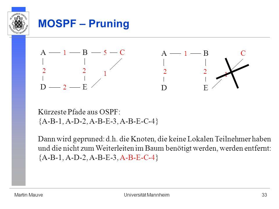 Martin MauveUniversität Mannheim33 MOSPF – Pruning A DE CB 2 2 1 2 5 1 Kürzeste Pfade aus OSPF: {A-B-1, A-D-2, A-B-E-3, A-B-E-C-4} Dann wird gepruned: