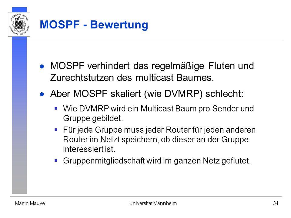 Martin MauveUniversität Mannheim34 MOSPF - Bewertung MOSPF verhindert das regelmäßige Fluten und Zurechtstutzen des multicast Baumes. Aber MOSPF skali