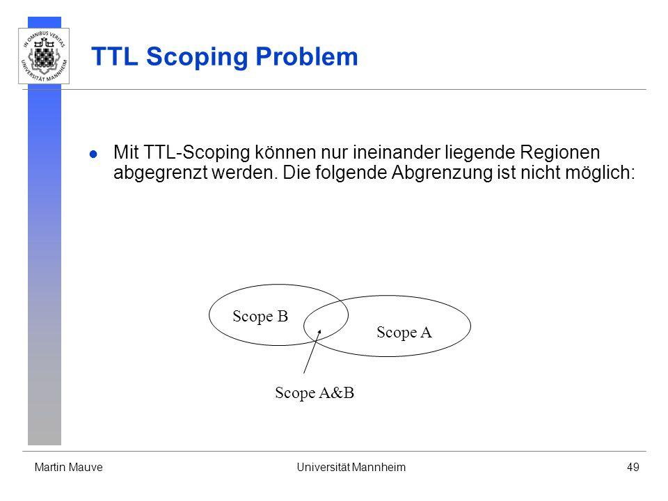 Martin MauveUniversität Mannheim49 TTL Scoping Problem Mit TTL-Scoping können nur ineinander liegende Regionen abgegrenzt werden. Die folgende Abgrenz