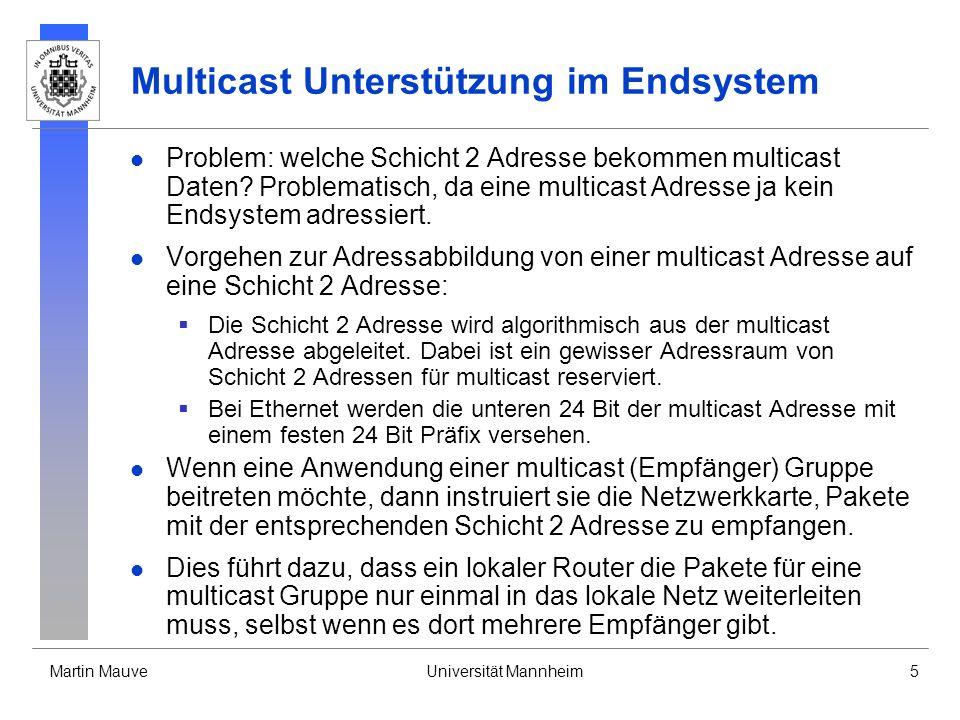 Martin MauveUniversität Mannheim5 Multicast Unterstützung im Endsystem Problem: welche Schicht 2 Adresse bekommen multicast Daten? Problematisch, da e