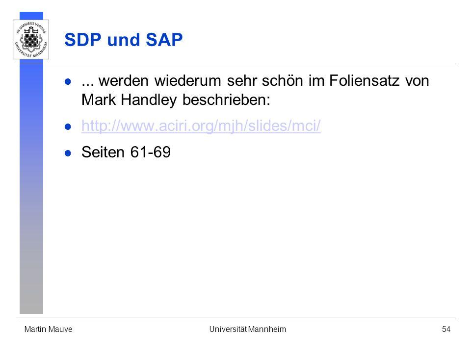Martin MauveUniversität Mannheim54 SDP und SAP... werden wiederum sehr schön im Foliensatz von Mark Handley beschrieben: http://www.aciri.org/mjh/slid