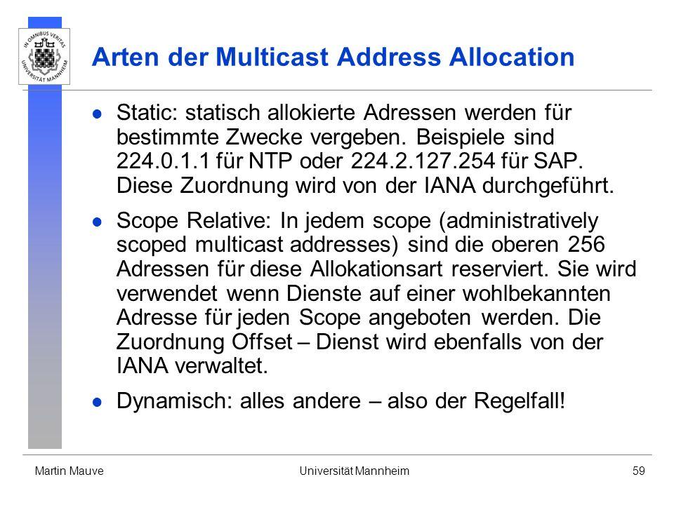 Martin MauveUniversität Mannheim59 Arten der Multicast Address Allocation Static: statisch allokierte Adressen werden für bestimmte Zwecke vergeben. B