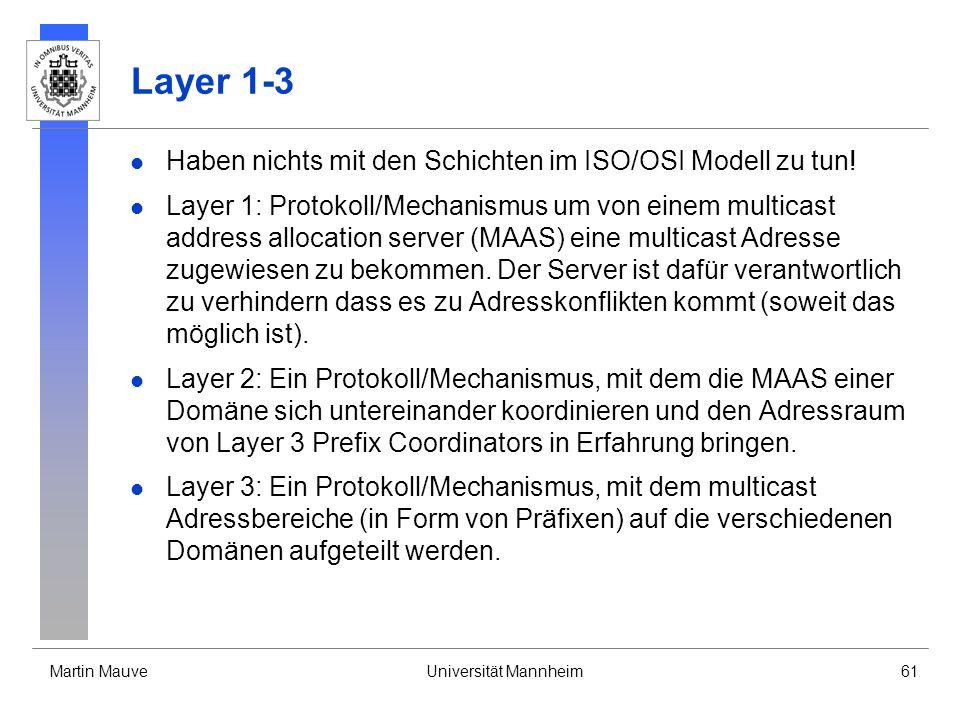 Martin MauveUniversität Mannheim61 Layer 1-3 Haben nichts mit den Schichten im ISO/OSI Modell zu tun! Layer 1: Protokoll/Mechanismus um von einem mult