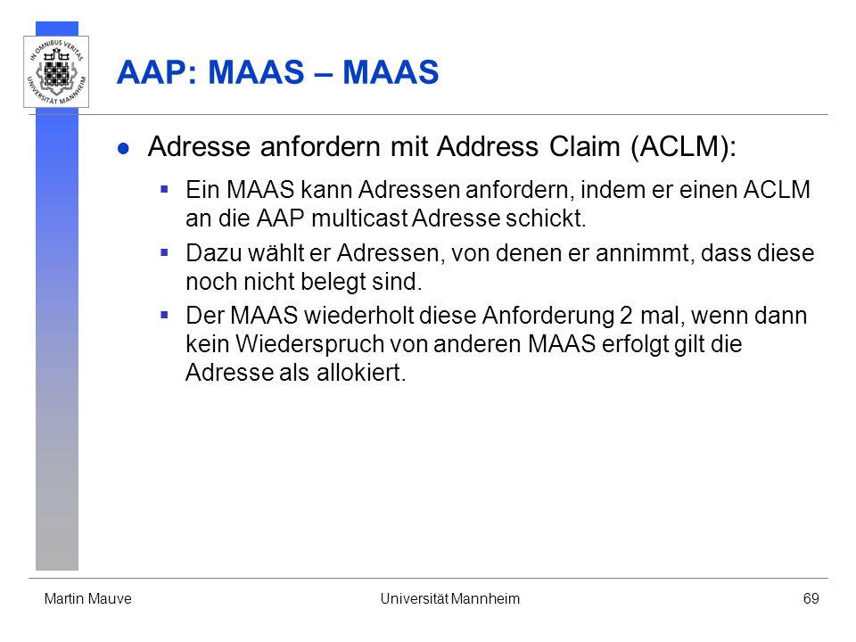 Martin MauveUniversität Mannheim69 AAP: MAAS – MAAS Adresse anfordern mit Address Claim (ACLM): Ein MAAS kann Adressen anfordern, indem er einen ACLM
