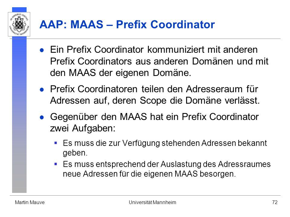 Martin MauveUniversität Mannheim72 AAP: MAAS – Prefix Coordinator Ein Prefix Coordinator kommuniziert mit anderen Prefix Coordinators aus anderen Domä