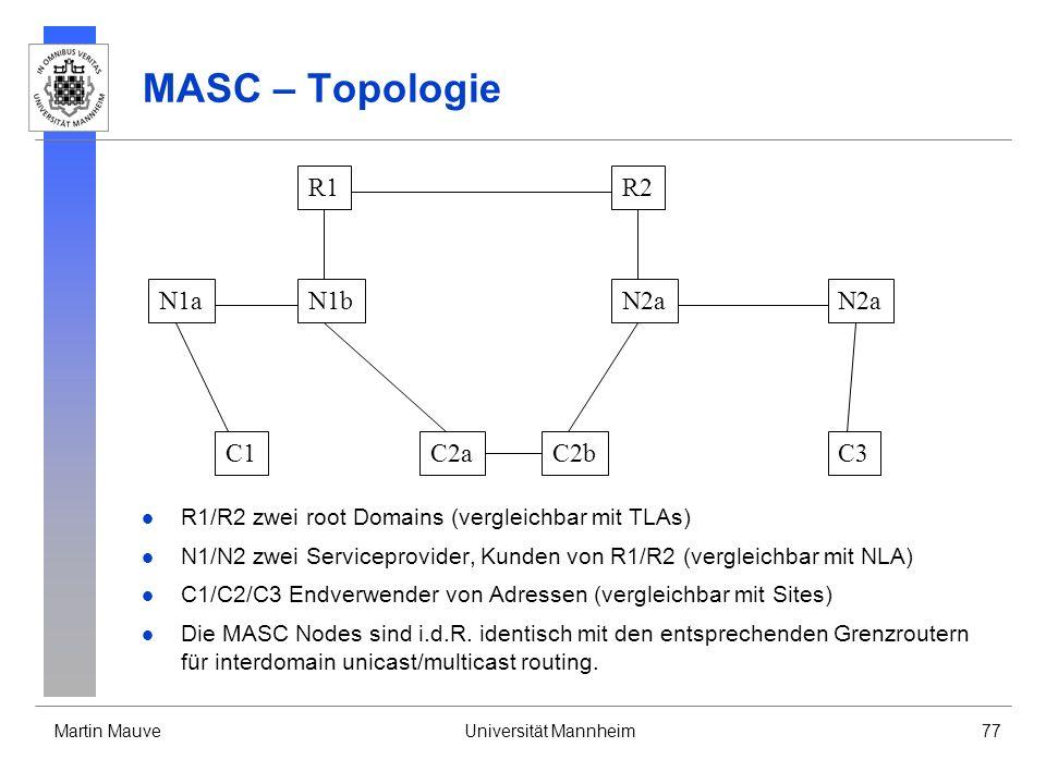 Martin MauveUniversität Mannheim77 MASC – Topologie R1R2 N1bN1aN2a C1C2aC2bC3 R1/R2 zwei root Domains (vergleichbar mit TLAs) N1/N2 zwei Serviceprovid