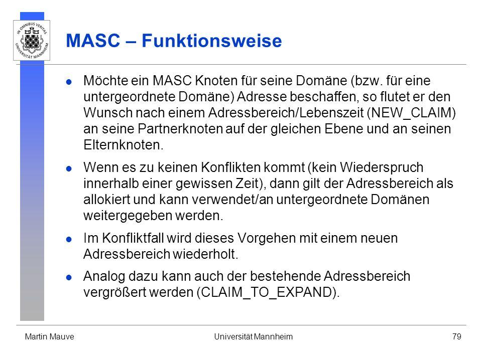 Martin MauveUniversität Mannheim79 MASC – Funktionsweise Möchte ein MASC Knoten für seine Domäne (bzw. für eine untergeordnete Domäne) Adresse beschaf