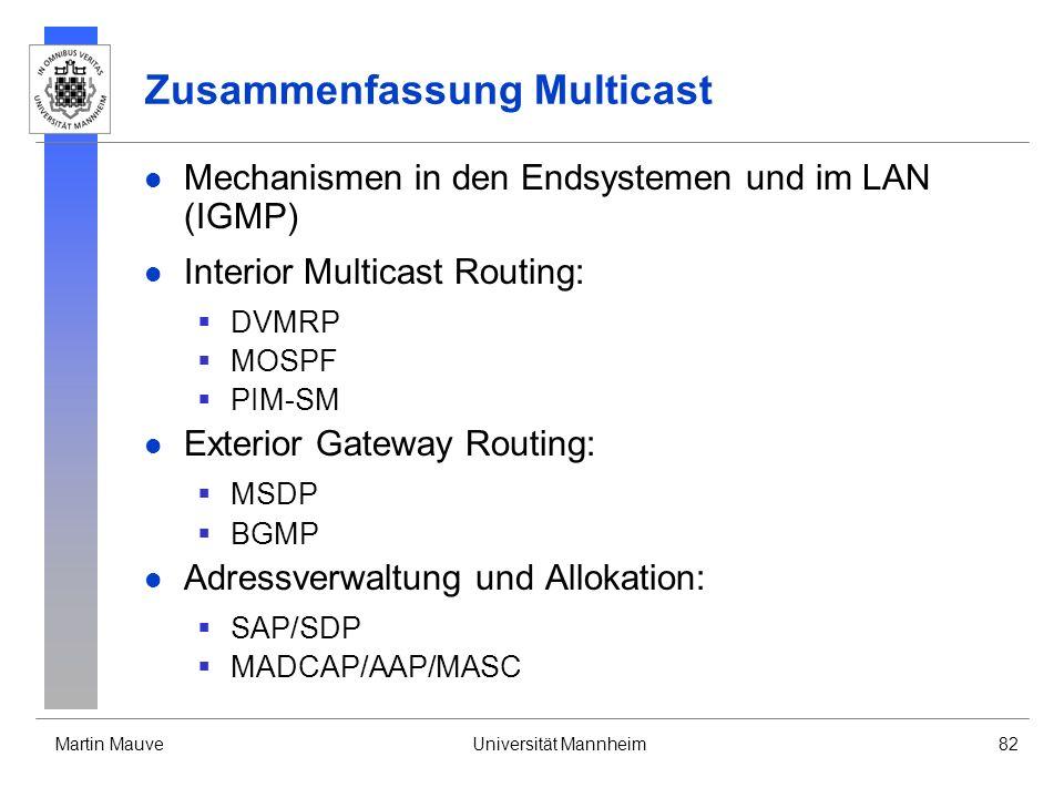 Martin MauveUniversität Mannheim82 Zusammenfassung Multicast Mechanismen in den Endsystemen und im LAN (IGMP) Interior Multicast Routing: DVMRP MOSPF
