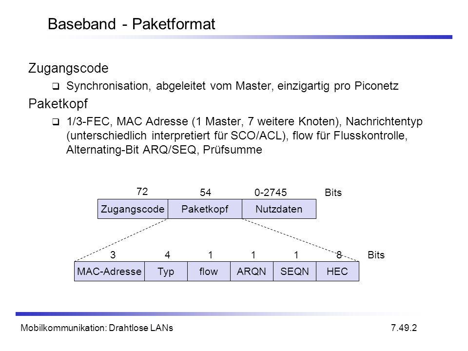 Mobilkommunikation: Drahtlose LANs Baseband - Paketformat ZugangscodePaketkopfNutzdaten 72 540-2745Bits MAC-AdresseTypflowARQNSEQNHEC 341118Bits 7.49.