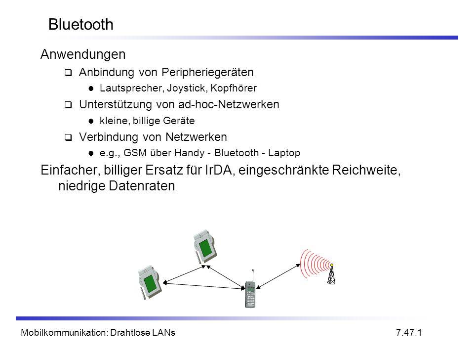 Mobilkommunikation: Drahtlose LANs Bluetooth Anwendungen Anbindung von Peripheriegeräten Lautsprecher, Joystick, Kopfhörer Unterstützung von ad-hoc-Ne