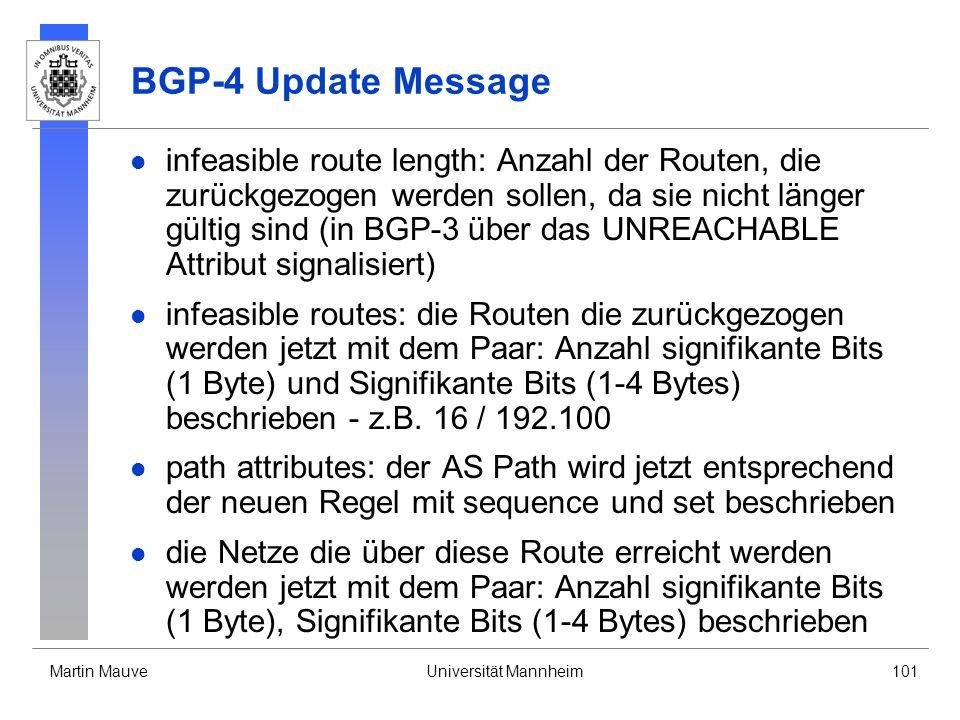 Martin MauveUniversität Mannheim101 BGP-4 Update Message infeasible route length: Anzahl der Routen, die zurückgezogen werden sollen, da sie nicht län