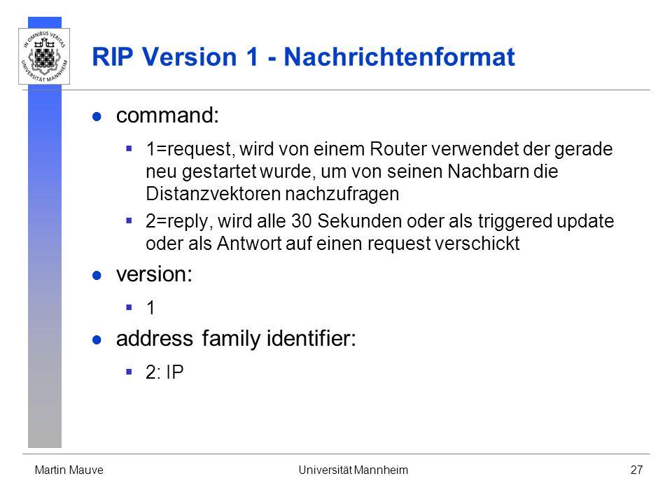 Martin MauveUniversität Mannheim27 RIP Version 1 - Nachrichtenformat command: 1=request, wird von einem Router verwendet der gerade neu gestartet wurd