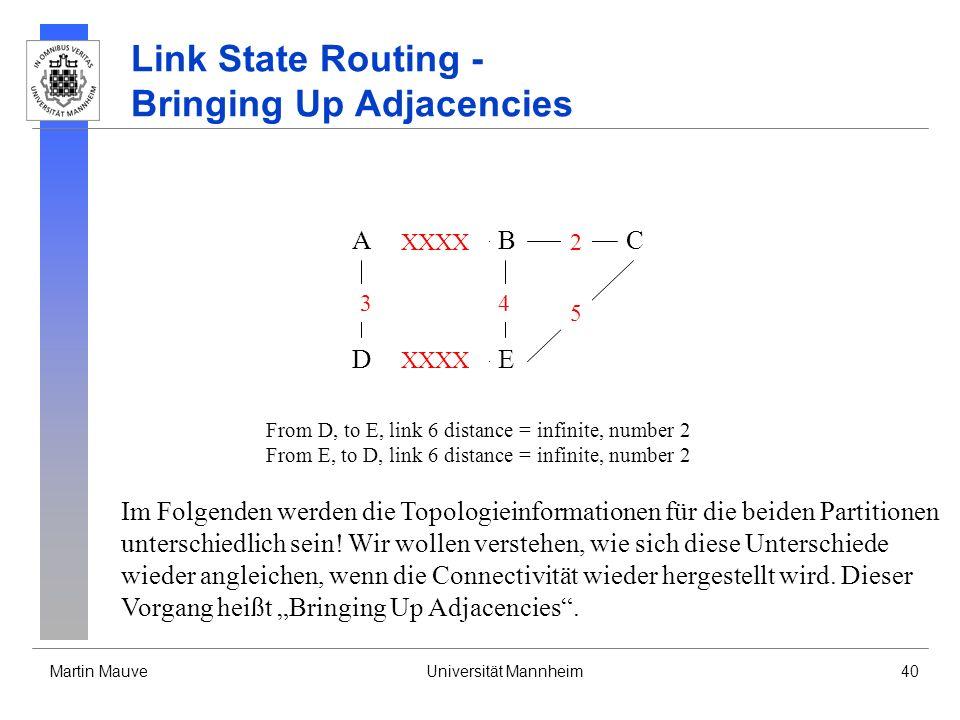 Martin MauveUniversität Mannheim40 Link State Routing - Bringing Up Adjacencies A DE CB 3 XXXX 4 2 5 From D, to E, link 6 distance = infinite, number